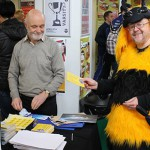 Mr Ronald Lee, from Friends of Earth, dressed as a bee in the Students' Union of the University of Worcester