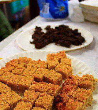 Free vegan, vegetarian and meat flapjacks and chocolate brownies