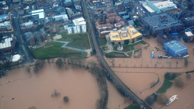 Aerial view of Worcester's City Centre under water - Worcester Floods 2014