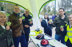 Making origami fish at the Woo Bikes stall by the river