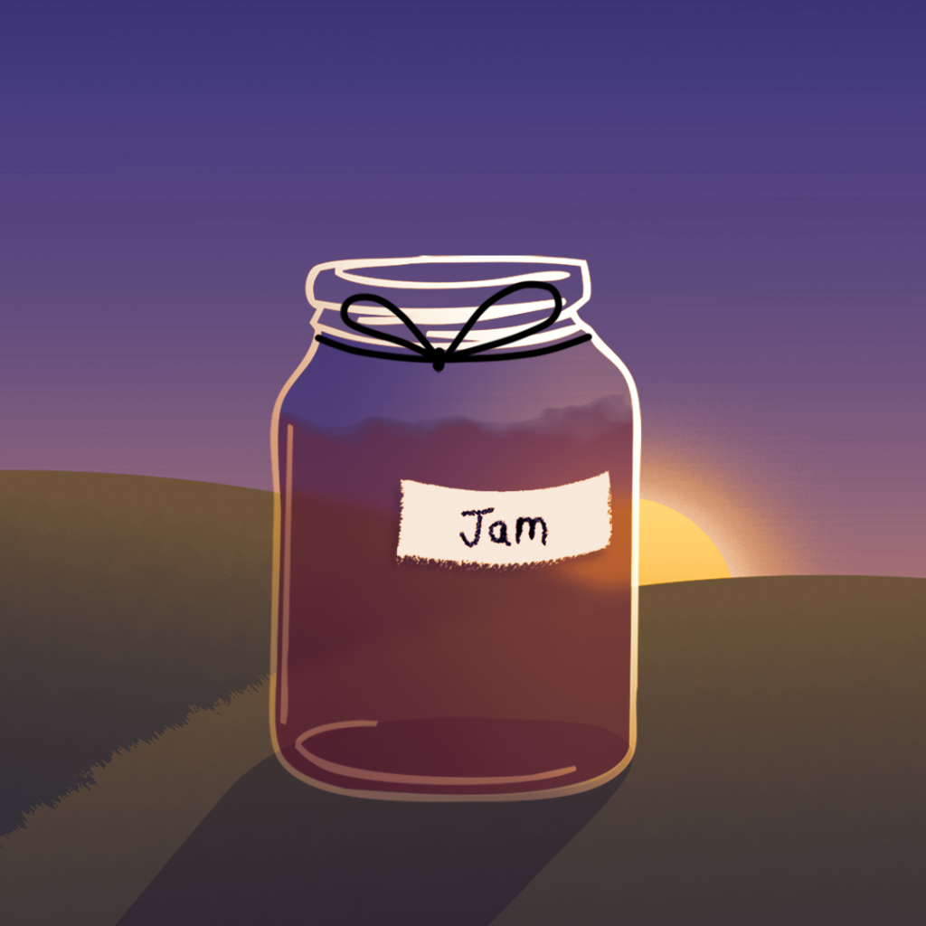 illustration by Joe Toft to show ideas to reuse glass jars for gifts like jam